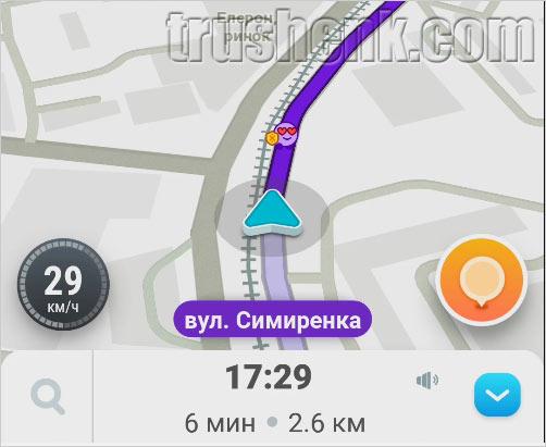 Карта навигации Waze