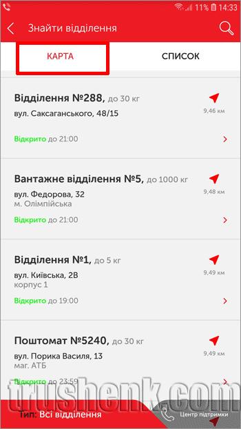 Список отделений Новой Почты